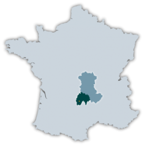 La Cantal sur une carte de France @neweyes