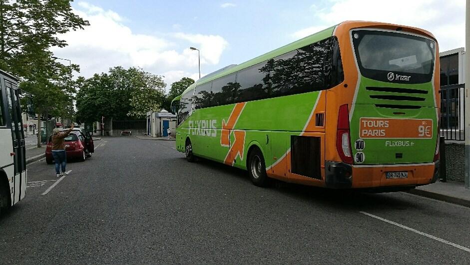 Bus Flixbus au départ de notre traversée de l'Europe